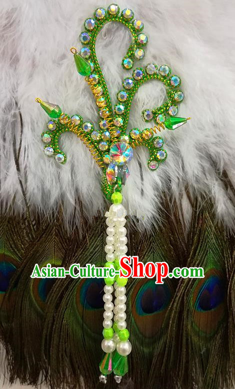 Chinese Traditional Beijing Opera Hair Accessories Peking Opera Beads Tassel Green Phoenix Hairpins for Adults