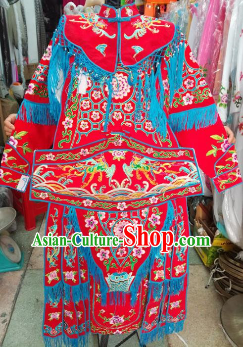 Chinese Traditional Beijing Opera Costume Peking Opera Female General Red Clothing for Kids