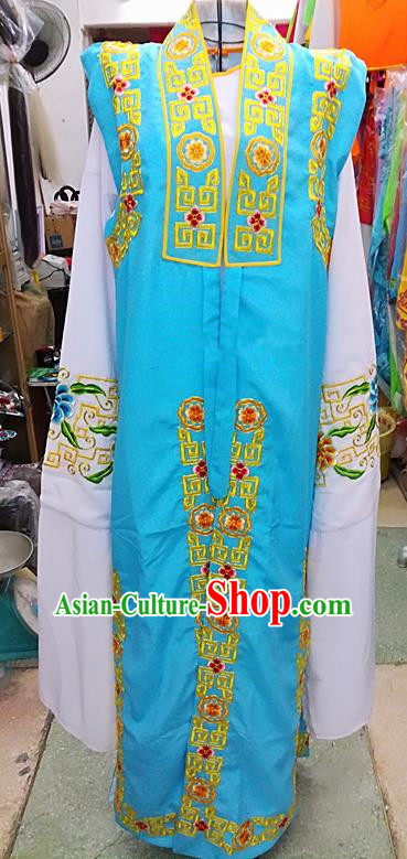 Chinese Traditional Beijing Opera Old Gentleman Costume Peking Opera Embroidered Blue Clothing for Adults