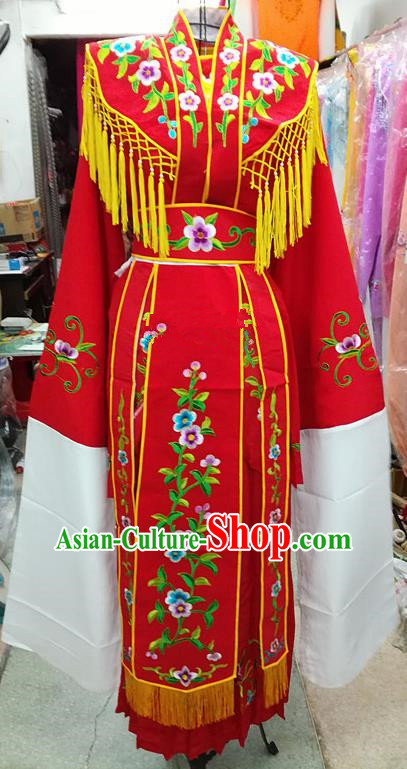 Chinese Traditional Beijing Opera Young Lady Costume Peking Opera Diva Red Dress for Adults