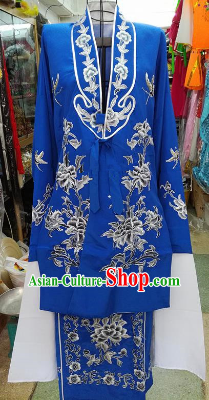 Chinese Traditional Beijing Opera Tsingyi Costume Peking Opera Actress Embroidered Peony Royalblue Dress for Adults