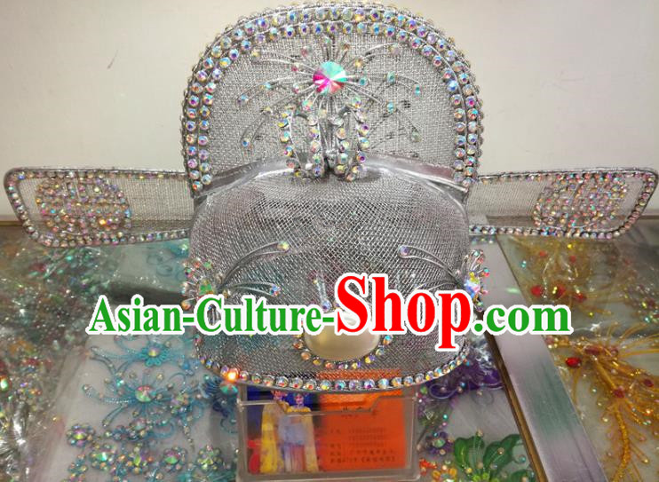 Chinese Traditional Beijing Opera Headwear Peking Opera Official Argent Hat for Adults