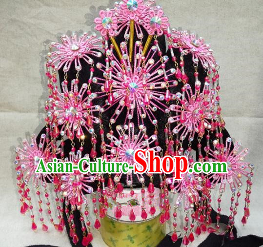 Chinese Traditional Beijing Opera Pink Phoenix Coronet Head Ornaments Hair Accessories for Adults
