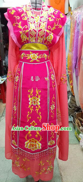 Chinese Traditional Beijing Opera Nobility Lady Rosy Dress Peking Opera Actress Costume for Adults