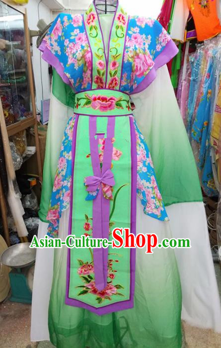 Chinese Traditional Beijing Opera Green Dress Peking Opera Actress Water Sleeve Costume for Adults