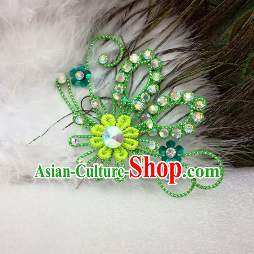 Chinese Traditional Beijing Opera Actress Hair Accessories Peking Opera Princess Green Flowers Hairpins for Adults