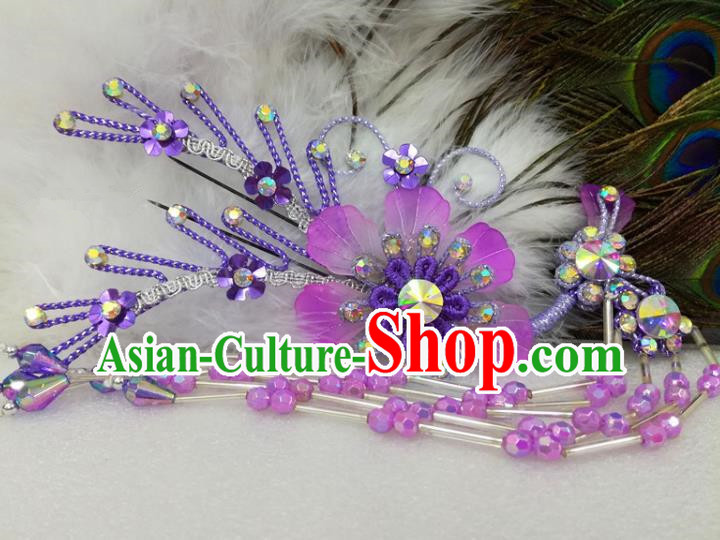 Chinese Traditional Beijing Opera Actress Purple Flower Hairpins Hair Accessories for Adults