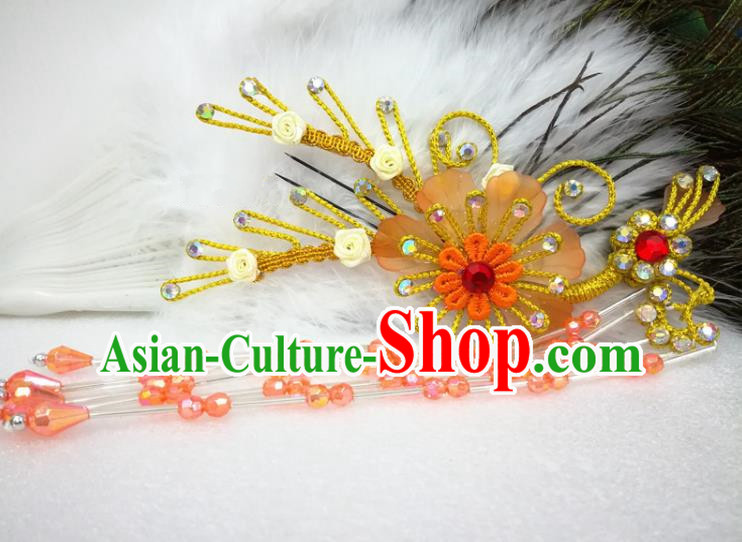 Chinese Traditional Beijing Opera Actress Orange Flower Hairpins Hair Accessories for Adults