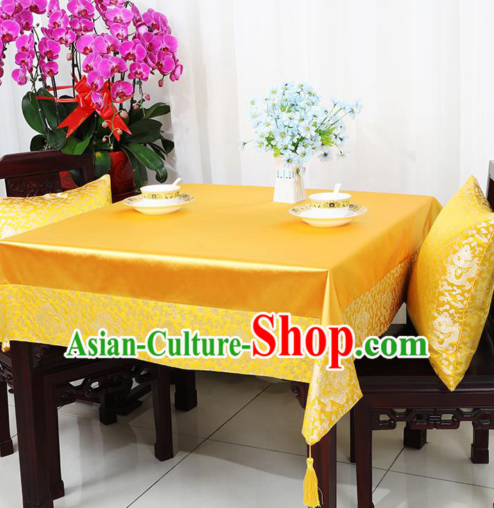 Chinese Traditional Dragons Pattern Golden Brocade Table Cloth Classical Satin Household Ornament Desk Cover
