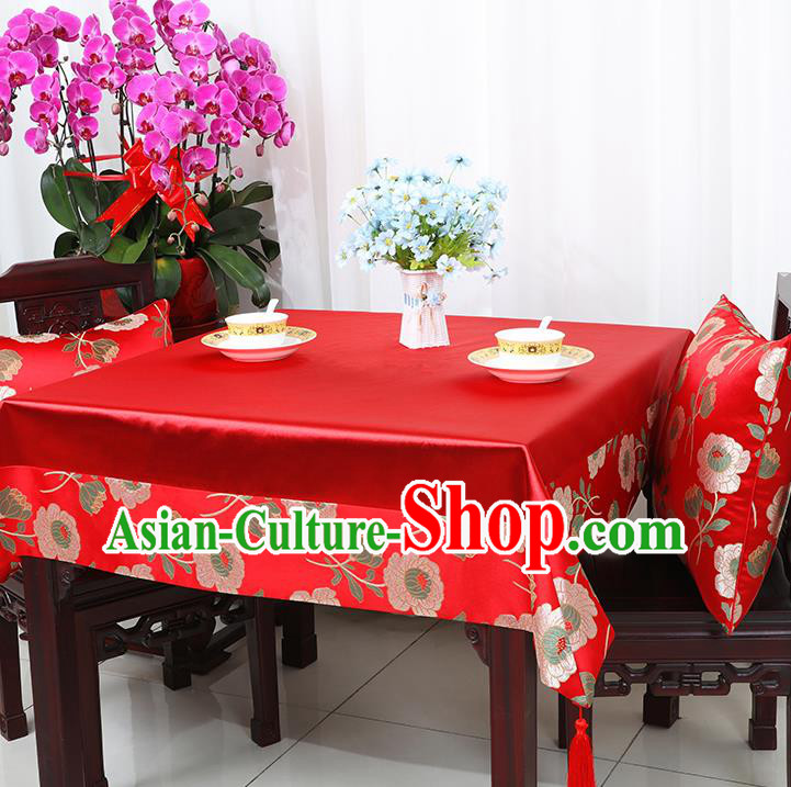 Chinese Traditional Peony Pattern Red Brocade Table Cloth Classical Satin Household Ornament Desk Cover