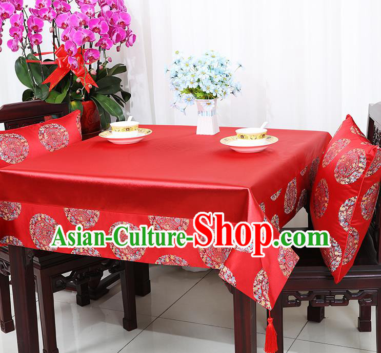 Chinese Traditional Round Dragons Pattern Red Brocade Table Cloth Classical Satin Household Ornament Desk Cover