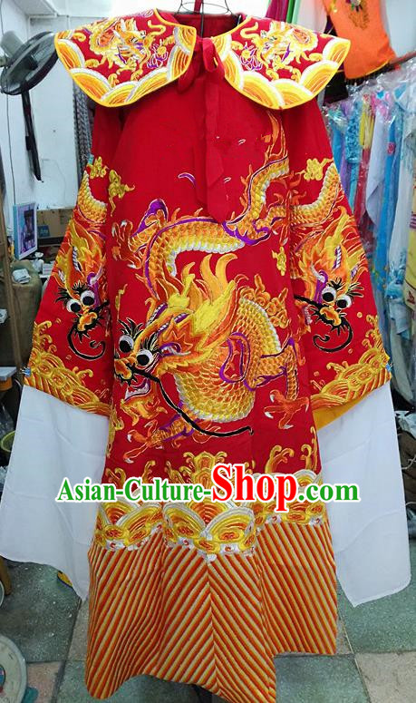 Chinese Traditional Beijing Opera Minister Costume Peking Opera Old Men Red Embroidered Robe for Adults
