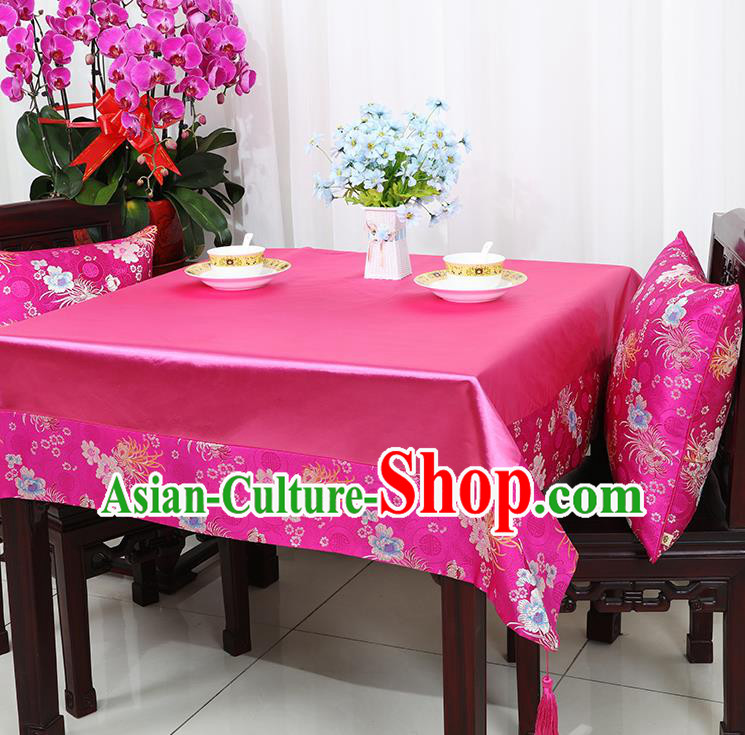 Chinese Traditional Chrysanthemum Pattern Rosy Brocade Table Cloth Classical Satin Household Ornament Desk Cover