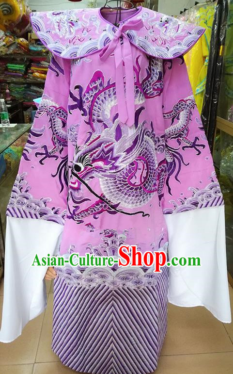 Chinese Traditional Beijing Opera Minister Costume Peking Opera Old Men Lilac Embroidered Robe for Adults