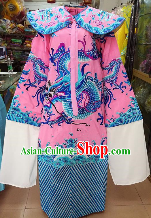 Chinese Traditional Beijing Opera Minister Costume Peking Opera Old Men Pink Embroidered Robe for Adults