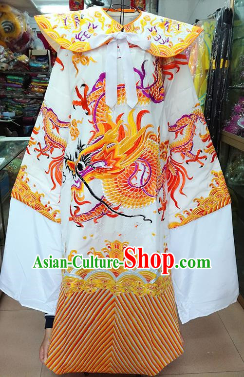 Chinese Traditional Beijing Opera Minister Costume Peking Opera Old Gentleman White Embroidered Robe for Adults