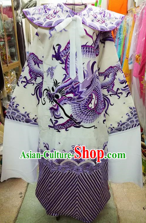Chinese Traditional Beijing Opera Minister Costume Peking Opera Old Gentleman Purple Embroidered Robe for Adults