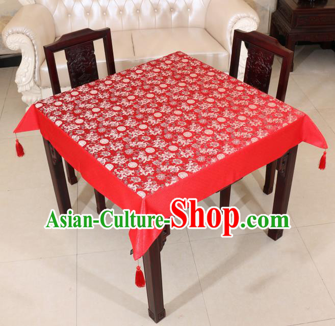Chinese Traditional Longevity Dragons Pattern Red Brocade Desk Cloth Classical Satin Household Ornament Table Cover
