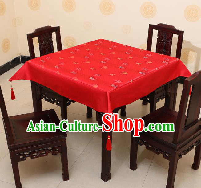 Chinese Traditional Orchid Bamboo Chrysanthemum Pattern Red Brocade Desk Cloth Classical Satin Household Ornament Table Cover