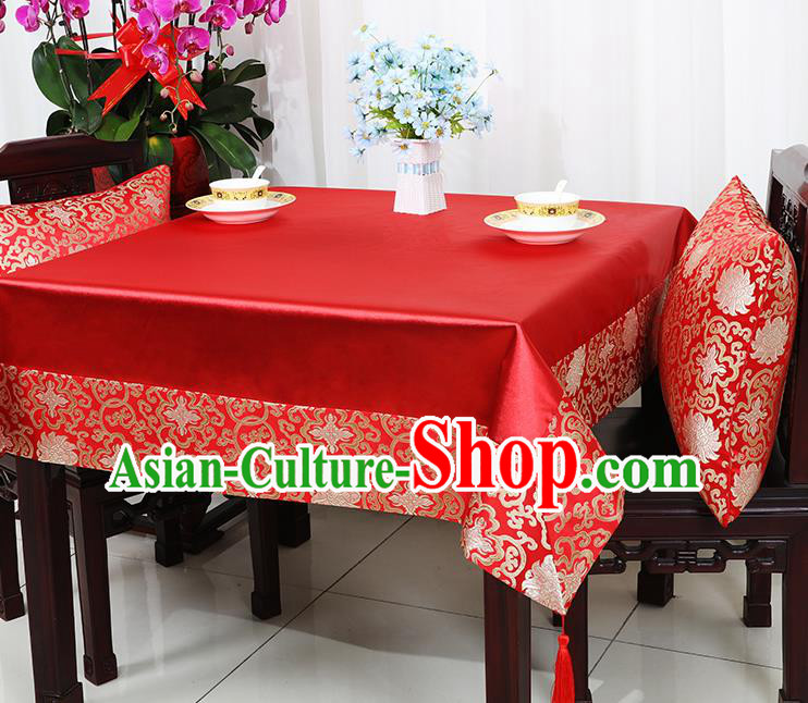 Chinese Traditional Lotus Pattern Red Brocade Table Cloth Classical Satin Household Ornament Desk Cover