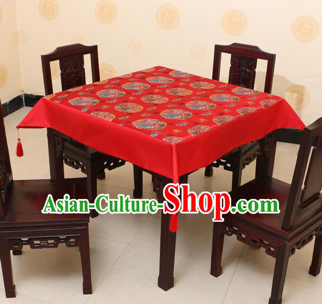 Chinese Traditional Peony Lotus Pattern Red Brocade Desk Cloth Classical Satin Household Ornament Table Cover