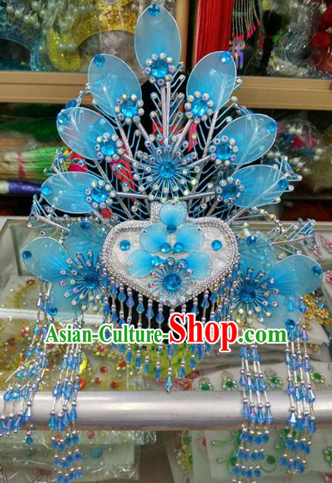 Chinese Traditional Beijing Opera Imperial Consort Blue Phoenix Coronet Head Ornaments Hair Accessories for Adults