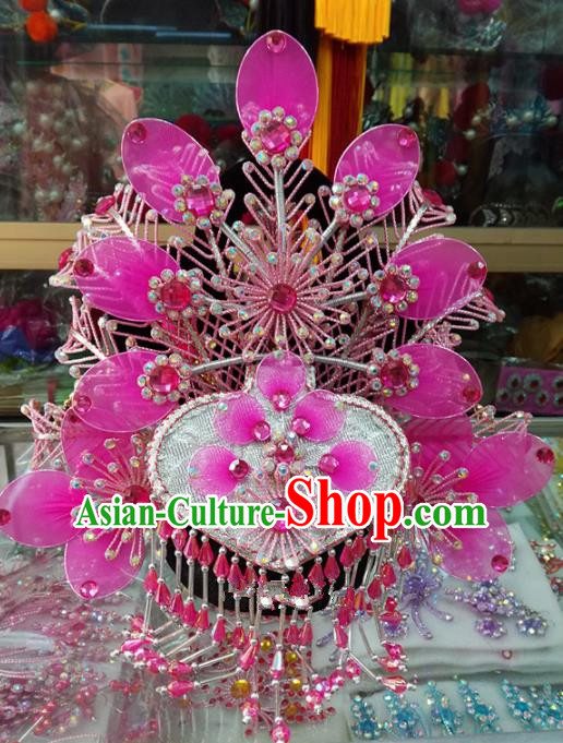 Chinese Traditional Beijing Opera Imperial Consort Pink Phoenix Coronet Head Ornaments Hair Accessories for Adults