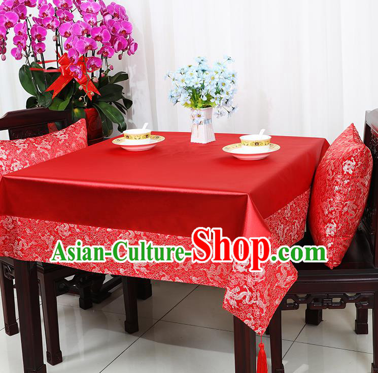 Chinese Traditional Dragons Pattern Red Brocade Table Cloth Classical Satin Household Ornament Desk Cover