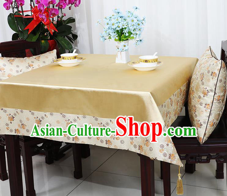Chinese Traditional Chrysanthemum Pattern Light Golden Brocade Table Cloth Classical Satin Household Ornament Desk Cover