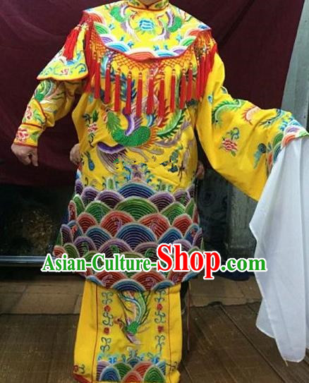 Chinese Traditional Beijing Opera Queen Yellow Water Sleeve Dress Peking Opera Actress Costume for Adults