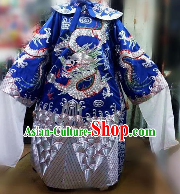 Chinese Traditional Beijing Opera Prime Minister Costume Peking Opera Chancellor Blue Embroidered Robe for Adults