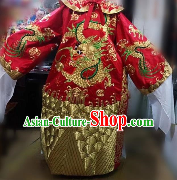 Chinese Traditional Beijing Opera Prime Minister Costume Peking Opera Chancellor Red Embroidered Robe for Adults