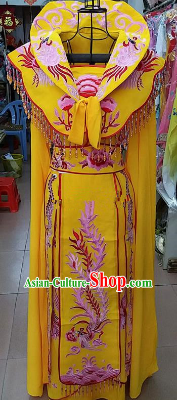 Chinese Traditional Beijing Opera Princess Golden Embroidered Dress Peking Opera Actress Costume for Adults