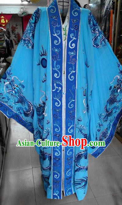 Chinese Traditional Beijing Opera Niche Costume Peking Opera Nobility Childe Blue Embroidered Robe for Adults