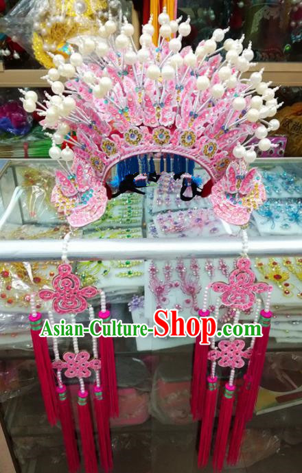Chinese Traditional Beijing Opera Wedding Pink Phoenix Coronet Queen Hair Accessories for Adults