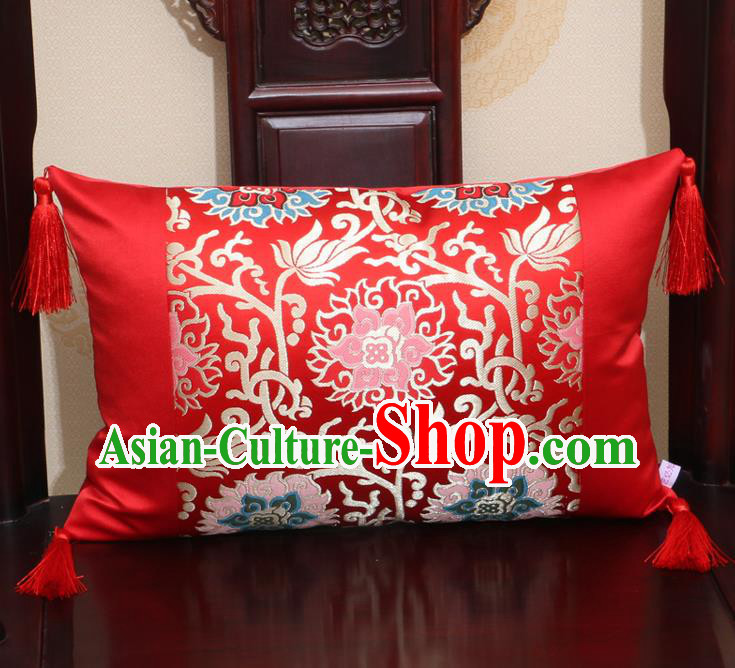 Chinese Traditional Lotus Pattern Red Brocade Back Cushion Cover Classical Household Ornament