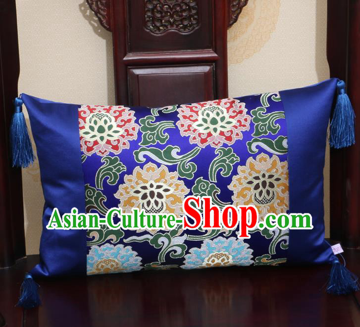 Chinese Traditional Lotus Pattern Royalblue Brocade Back Cushion Cover Classical Household Ornament
