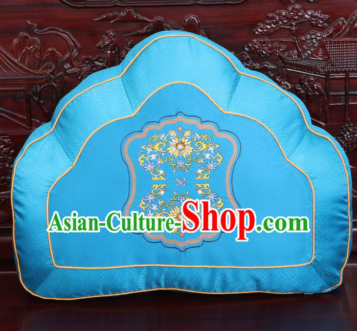 Chinese Traditional Embroidered Chrysanthemum Pattern Blue Brocade Back Cushion Cover Classical Household Ornament