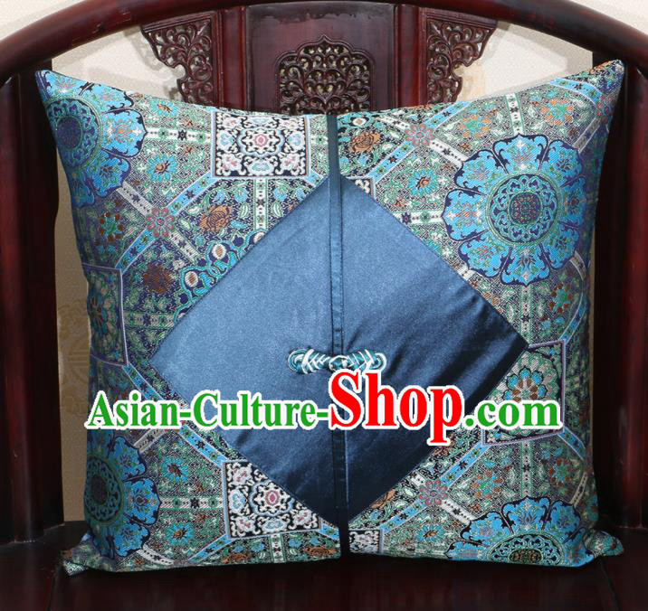 Chinese Classical Pattern Navy Brocade Pipa Button Back Cushion Cover Traditional Household Ornament