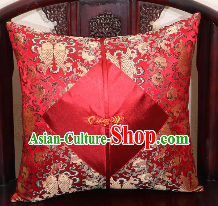 Chinese Classical Fishes Pattern Red Brocade Pipa Button Back Cushion Cover Traditional Household Ornament