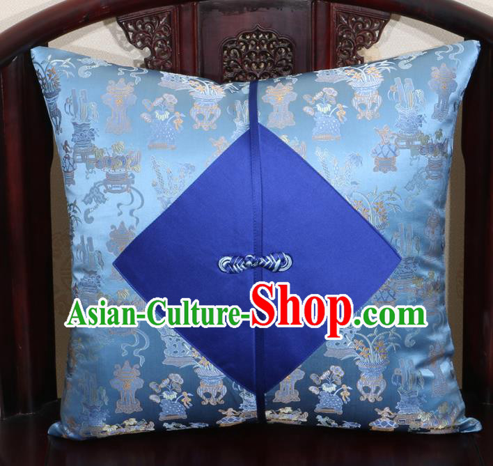 Chinese Classical Orchid Pattern Blue Brocade Pipa Button Back Cushion Cover Traditional Household Ornament