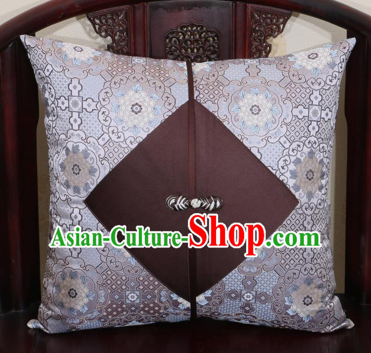 Chinese Classical Pattern Grey Brocade Pipa Button Back Cushion Cover Traditional Household Ornament
