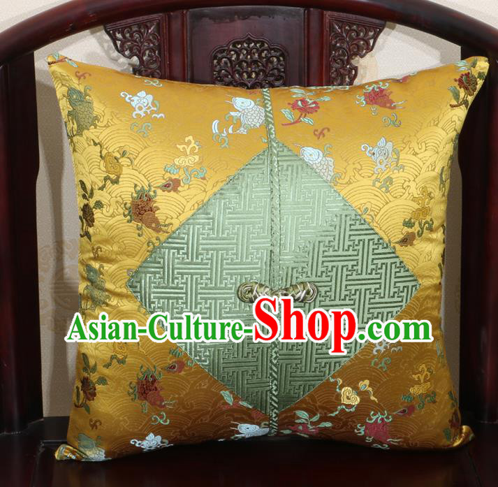 Chinese Classical Fish Pattern Golden Brocade Pipa Button Back Cushion Cover Traditional Household Ornament
