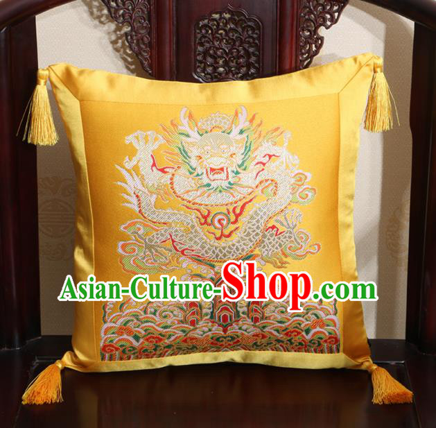 Chinese Classical Dragon Pattern Golden Brocade Square Cushion Cover Traditional Household Ornament