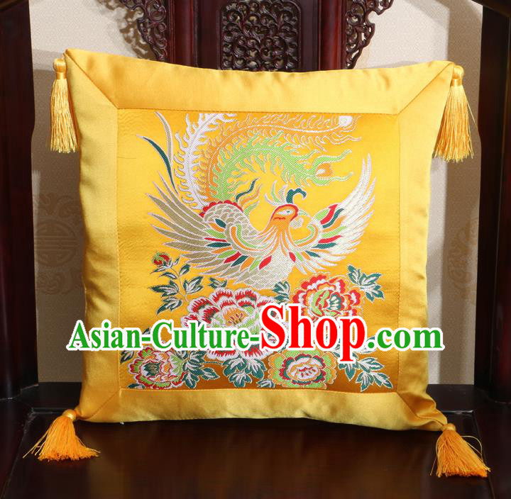 Chinese Classical Phoenix Peony Pattern Golden Brocade Square Cushion Cover Traditional Household Ornament