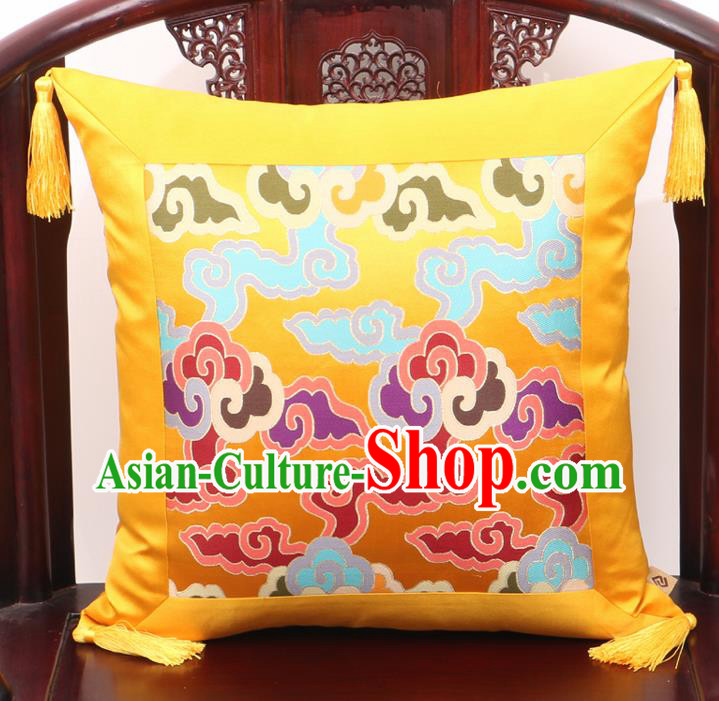 Chinese Classical Cloud Pattern Golden Brocade Square Cushion Cover Traditional Household Ornament
