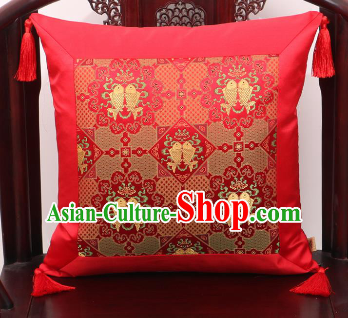 Chinese Classical Double Fishes Pattern Red Brocade Square Cushion Cover Traditional Household Ornament