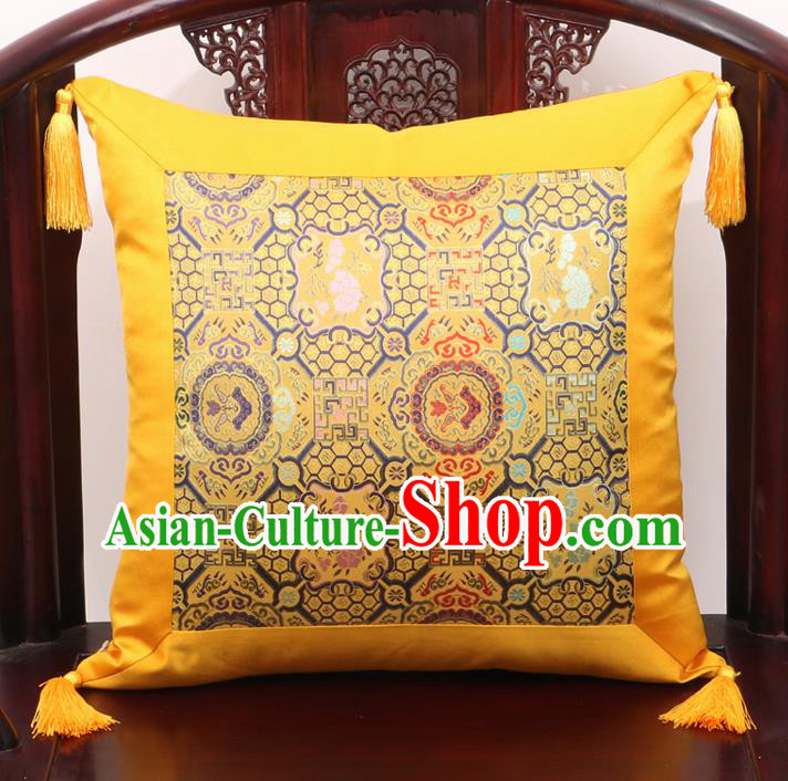Chinese Classical Pattern Golden Brocade Square Cushion Cover Traditional Household Ornament
