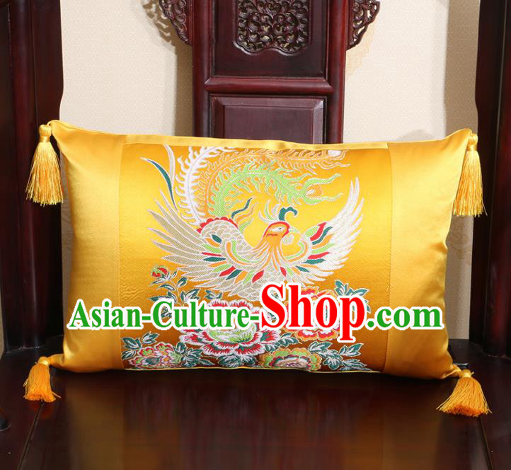 Chinese Traditional Phoenix Peony Pattern Golden Brocade Back Cushion Cover Classical Household Ornament