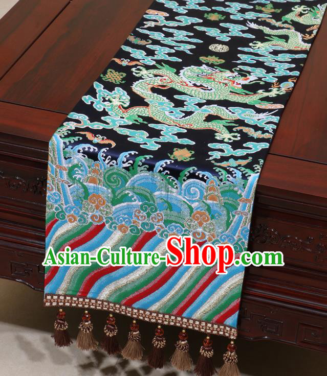 Chinese Traditional Dragon Pattern Navy Brocade Table Flag Classical Satin Household Ornament Table Cover